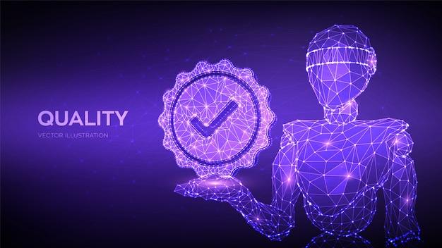 Qualidade. garantia de certificação de controle de qualidade padrão.