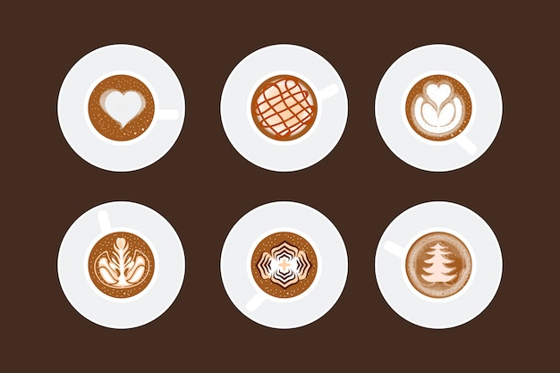 Qualquer copo de arte café latte