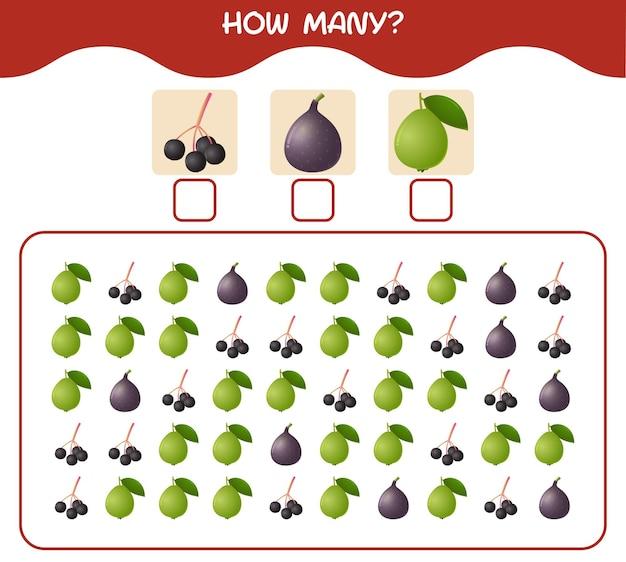 Quantas frutas de desenho animado. jogo de contagem. jogo educativo para crianças e bebês antes da idade escolar