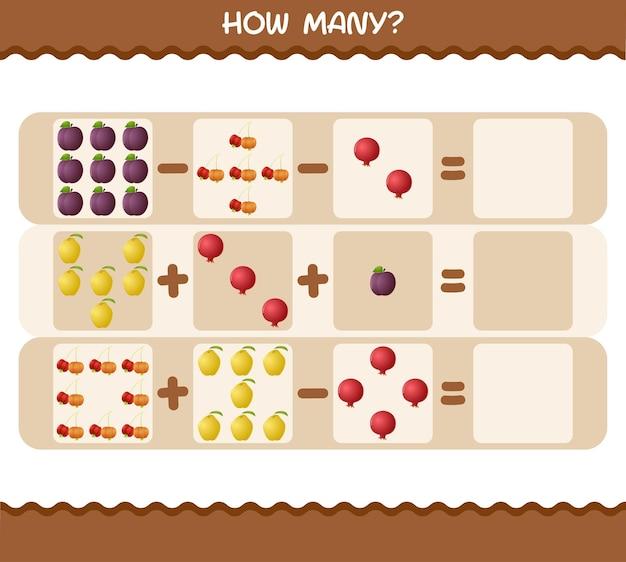 Quantas frutas de desenho animado. jogo de contagem. jogo educativo