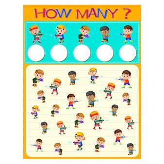 Quantas planilhas com muitas crianças