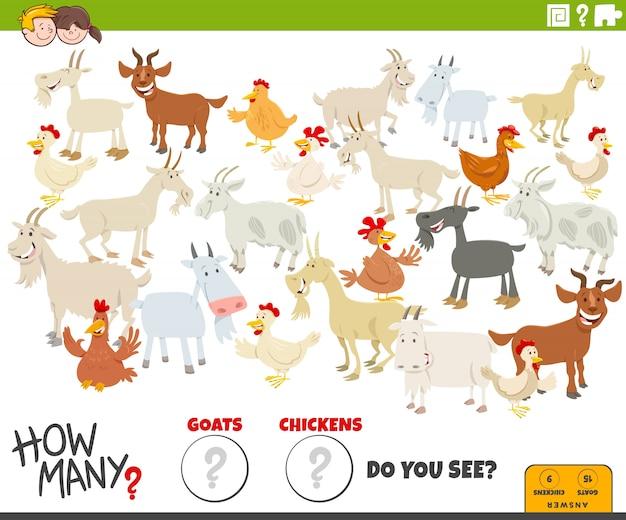 Quantas tarefas educacionais para cabras e galinhas para crianças