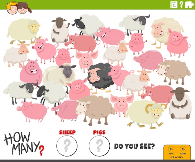 Quantas tarefas educativas para ovelhas e porcos para crianças
