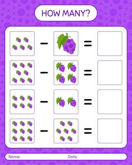 Quantas uva jogo de contagem. planilha para crianças em idade pré-escolar, planilha de atividades para crianças, planilha para impressão