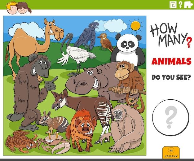 Quantos animais de desenho animado tarefa educacional para crianças