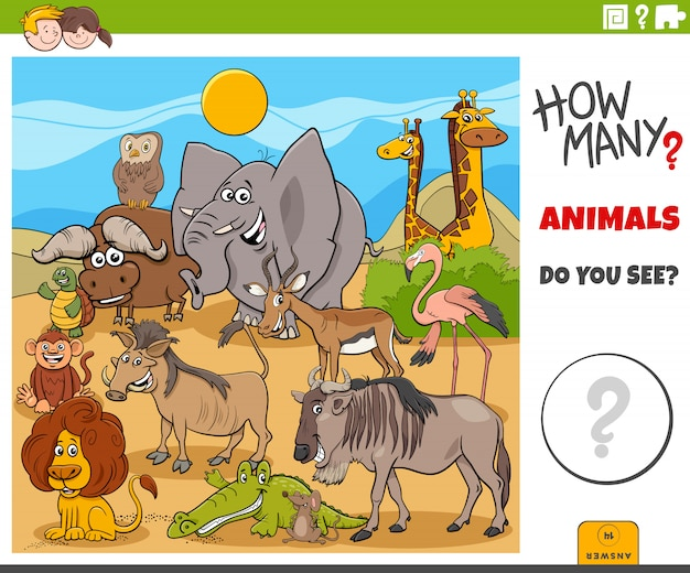 Quantos animais tarefa educacional para crianças