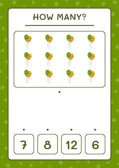 Quantos balões, jogo para crianças. ilustração vetorial, planilha para impressão