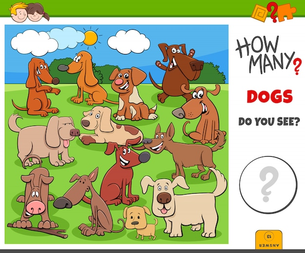 Quantos cães e filhotes tarefa educacional para crianças