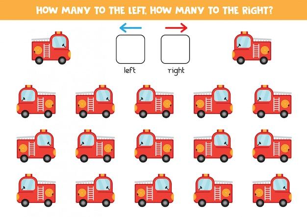 Quantos caminhões de bombeiros vão para a esquerda e para a direita. contando jogo para crianças