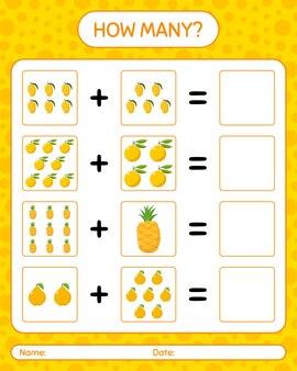 Quantos contando abacaxi jogo, marmelo, ugli. planilha para crianças em idade pré-escolar, planilha de atividades para crianças, planilha para impressão