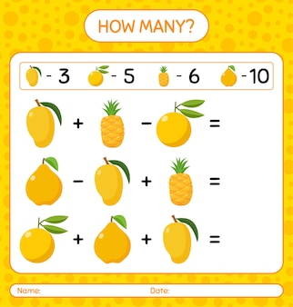 Quantos contando nance, abacaxi, marmelo, ugli. planilha para crianças em idade pré-escolar, planilha de atividades para crianças, planilha para impressão