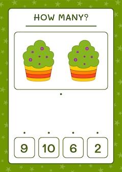 Quantos cup cake, jogo para crianças. ilustração vetorial, planilha para impressão