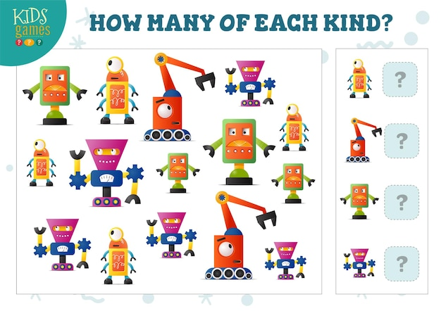 Quantos de cada tipo de jogo de contagem de robô de desenho animado para crianças vector a ilustração. teste educacional para crianças pré-escolares com teste de matemática