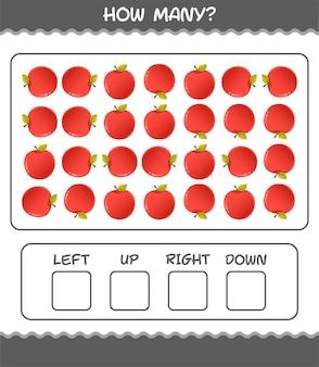 Quantos desenhos animados da maçã. jogo de contagem. jogo educativo para crianças e bebês antes da idade escolar