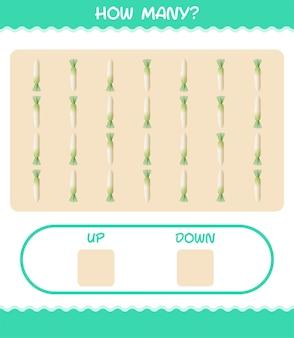 Quantos desenhos animados daikon. jogo de contagem. jogo educativo para crianças e bebês antes da idade escolar