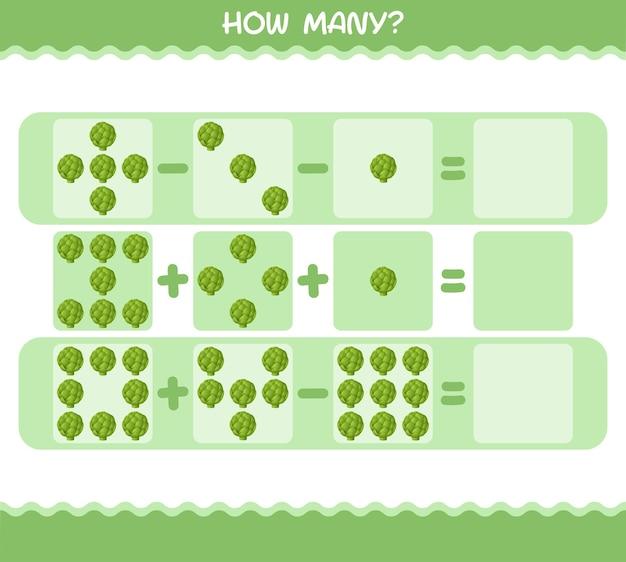 Quantos desenhos animados de alcachofra. jogo de contagem. jogo educativo para crianças e bebês antes da idade escolar