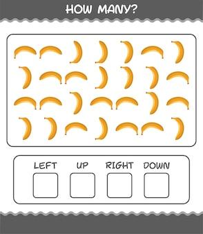 Quantos desenhos animados de banana. jogo de contagem. jogo educativo para crianças e bebês antes da idade escolar