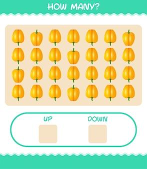 Quantos desenhos animados pimentão. jogo de contagem. jogo educativo para crianças e bebês antes da idade escolar