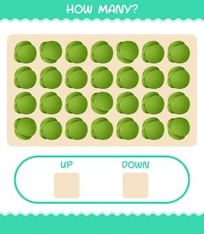 Quantos desenhos animados repolho verde. jogo de contagem. jogo educativo para crianças e bebês antes da idade escolar