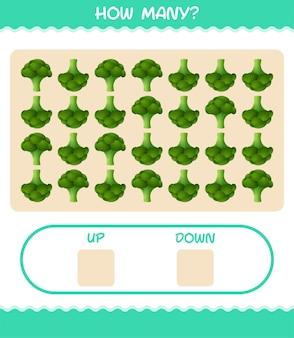 Quantos desenhos de brócolis. jogo de contagem. jogo educativo para crianças e bebês antes da idade escolar