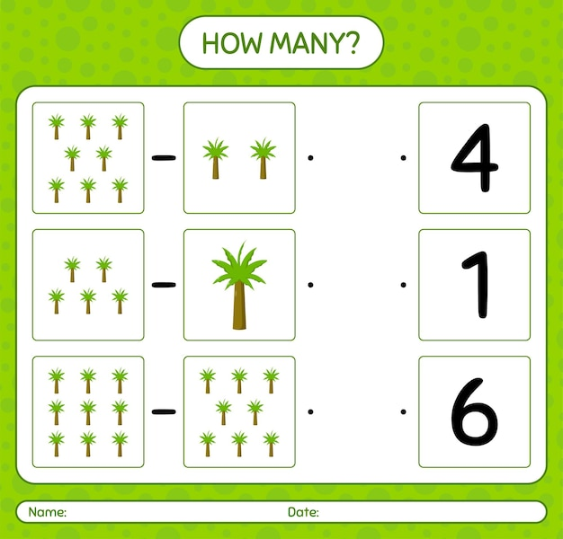 Quantos jogos contando com palmeira. folha de trabalho para crianças em idade pré-escolar Vetor Premium