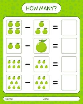 Quantos jogos contando goiaba. planilha para crianças em idade pré-escolar, planilha de atividades para crianças, planilha para impressão