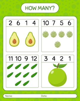 Quantos jogos contando melancia, pepino, abacate. planilha para crianças em idade pré-escolar, planilha de atividades para crianças, planilha para impressão