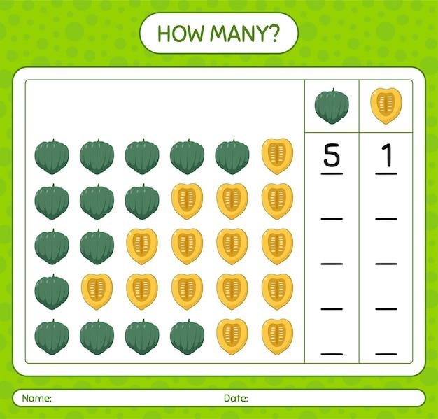 Quantos jogos de contagem com abóbora de bolota. planilha para crianças em idade pré-escolar, planilha de atividades para crianças, planilha para impressão