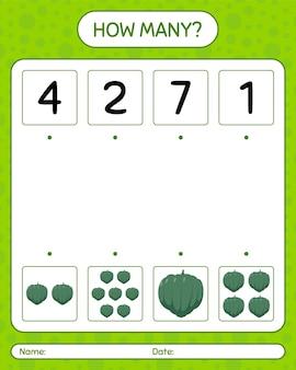 Quantos jogos de contagem com abóbora de bolota. planilha para crianças pré-escolares