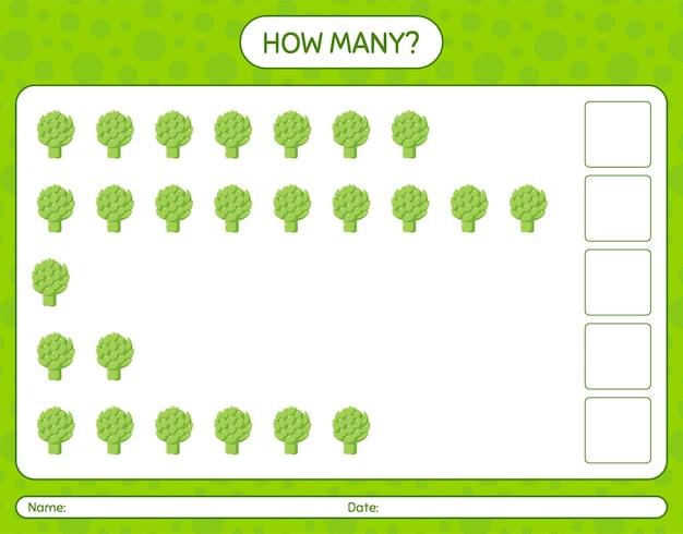 Quantos jogos de contagem com alcachofra. planilha para crianças em idade pré-escolar, planilha de atividades para crianças, planilha para impressão