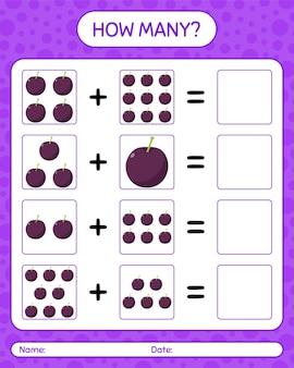 Quantos jogos de contagem com ameixa. planilha para crianças em idade pré-escolar, planilha de atividades para crianças, planilha para impressão