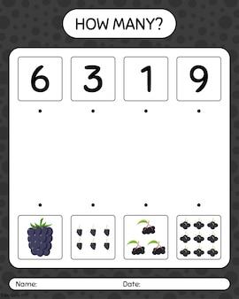 Quantos jogos de contagem com amora, amora, sabugueiro. planilha para crianças pré-escolares