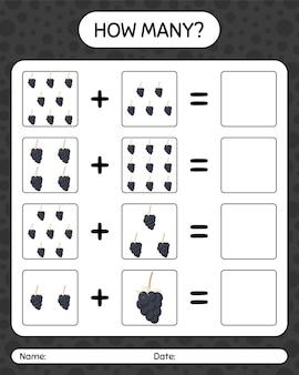 Quantos jogos de contagem com amora. planilha para crianças em idade pré-escolar, planilha de atividades para crianças, planilha para impressão
