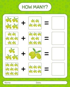 Quantos jogos de contagem com azeitona. planilha para crianças em idade pré-escolar, planilha de atividades para crianças, planilha para impressão