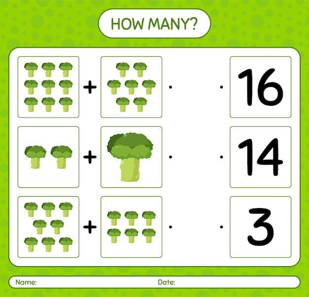 Quantos jogos de contagem com brócolis. planilha para crianças em idade pré-escolar, planilha de atividades para crianças, planilha para impressão