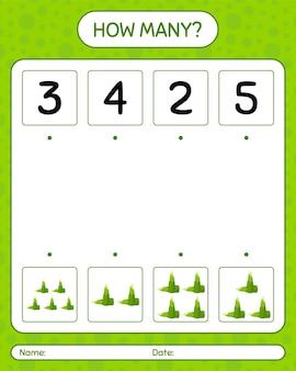 Quantos jogos de contagem com broto de bambu. planilha para crianças pré-escolares