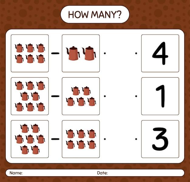Quantos jogos de contagem com bule árabe. folha de trabalho para crianças em idade pré-escolar Vetor Premium