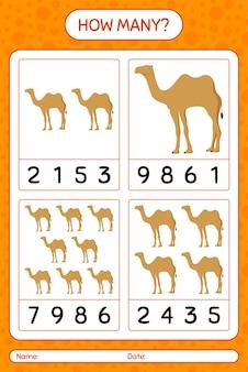 Quantos jogos de contagem com camelo. planilha para crianças em idade pré-escolar, planilha de atividades para crianças, planilha para impressão