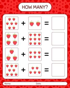 Quantos jogos de contagem com framboesa. planilha para crianças em idade pré-escolar, planilha de atividades para crianças, planilha para impressão