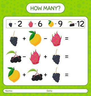 Quantos jogos de contagem com frutas. planilha para crianças em idade pré-escolar, planilha de atividades para crianças, planilha para impressão