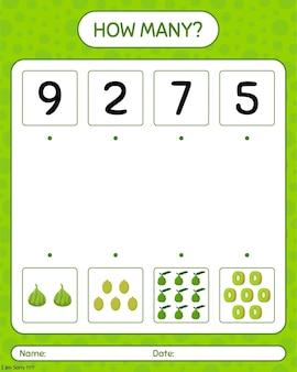 Quantos jogos de contagem com jaca, limão kaffir, kiwi. planilha para crianças pré-escolares