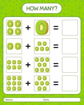 Quantos jogos de contagem com kiwi. planilha para crianças em idade pré-escolar, planilha de atividades para crianças, planilha para impressão