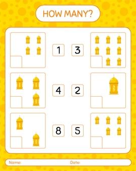 Quantos jogos de contagem com lanterna árabe. planilha
