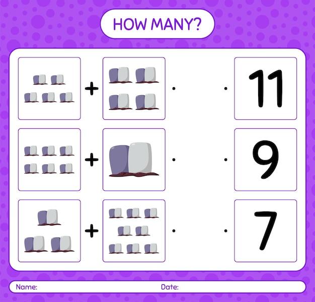 Quantos jogos de contagem com lápide. planilha para crianças em idade pré-escolar, planilha de atividades para crianças