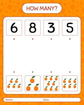 Quantos jogos de contagem com laranjas. planilha para crianças em idade pré-escolar, planilha de atividades para crianças, planilha para impressão