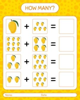 Quantos jogos de contagem com manga. planilha para crianças em idade pré-escolar, planilha de atividades para crianças, planilha para impressão