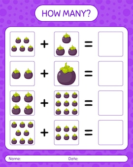 Quantos jogos de contagem com mangostão. planilha para crianças em idade pré-escolar, planilha de atividades para crianças, planilha para impressão