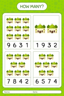 Quantos jogos de contagem com mesquita. planilha para crianças em idade pré-escolar, planilha de atividades para crianças, planilha para impressão