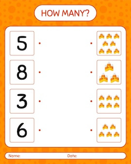 Quantos jogos de contagem com milho doce. planilha para crianças em idade pré-escolar, planilha de atividades para crianças