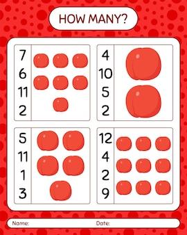 Quantos jogos de contagem com nectarina. planilha para crianças em idade pré-escolar, planilha de atividades para crianças, planilha para impressão